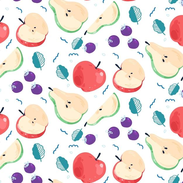 Фруктовый узор с грушами и яблоками Бесплатные векторы