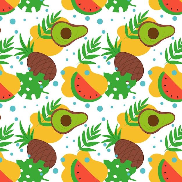Фруктовый узор с ананасом и авокадо Бесплатные векторы