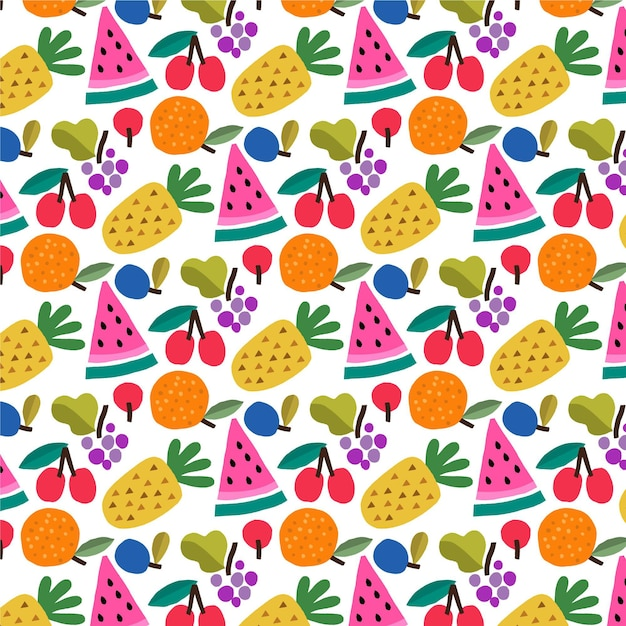 Fruits pattern with pineapple Free Vector