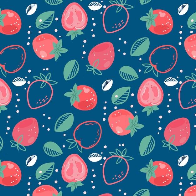 イチゴのフルーツパターン 無料ベクター
