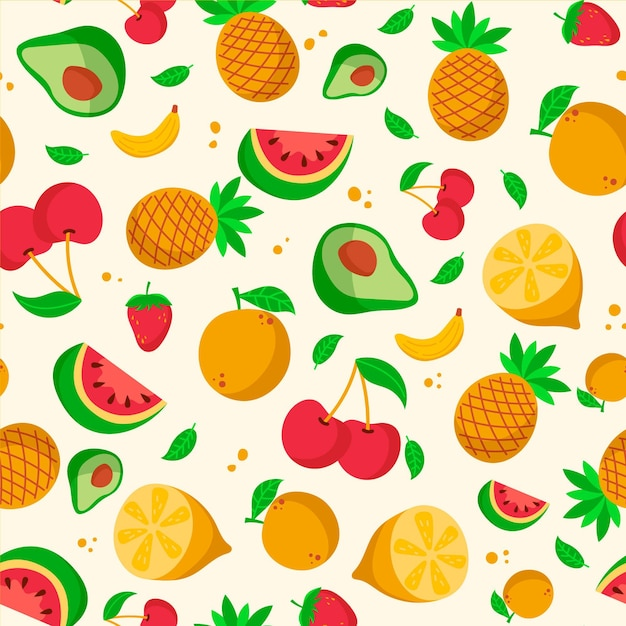 Fruits pattern with watermelon and pineapples Free Vector
