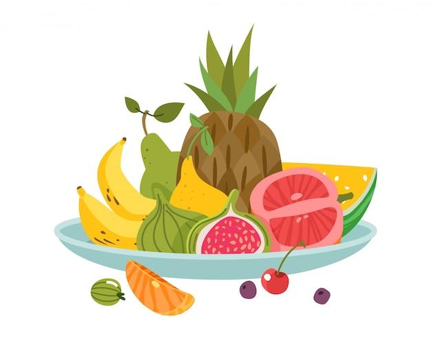 Фруктовая тарелка. ужин чаша блюдо фрукты обед вкусно диета здоровье свежий аппетит Premium векторы