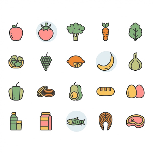 Fruits related icon and symbol set Premium Vector