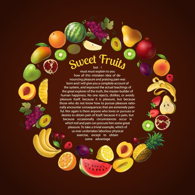 Fruits round frame composition with text template Free Vector