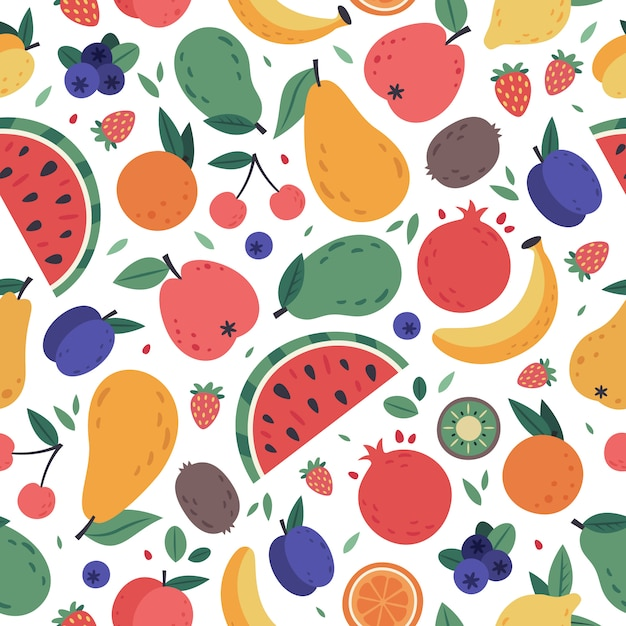 Fruits seamless pattern. hand drawn doodle fruits, berries wrapping paper, vegan fabric or vegetarian meal menu, watermelon, mango, banana and strawberry  background. tropical juice products Premium Vector