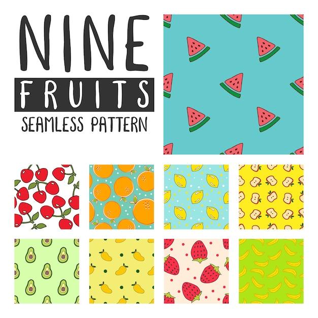 Fruits seamless pattern illustration on pack vector Premium Vector