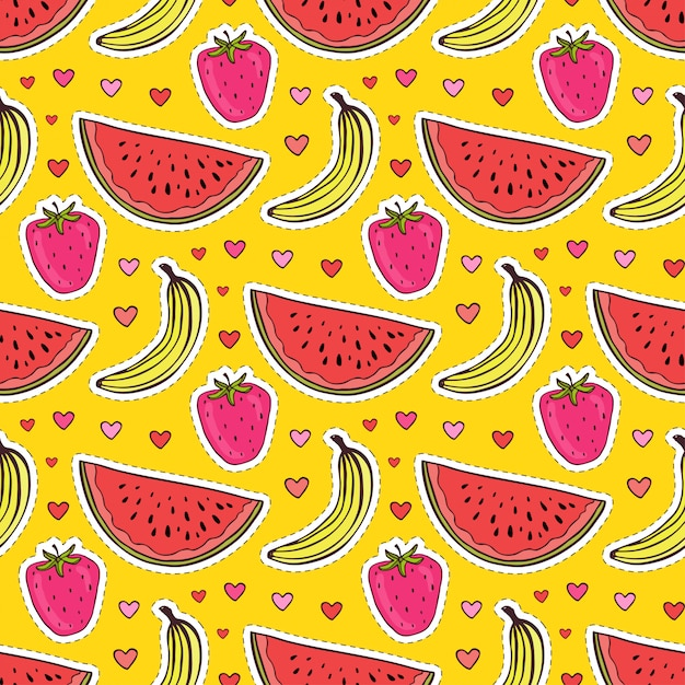 Fruits seamless pattern with watermelon Premium Vector
