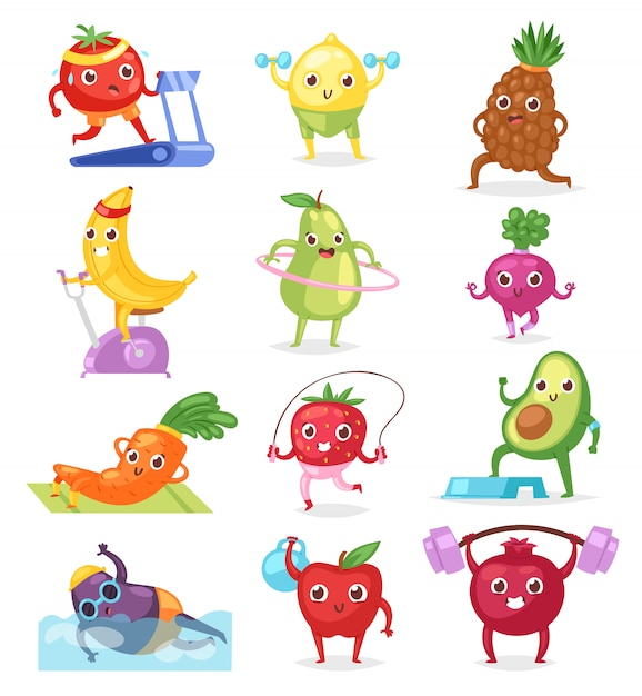 Fruits sportsman  fruity expression of sporting cartoon character workout doing fitness exercises illustration Premium Vector