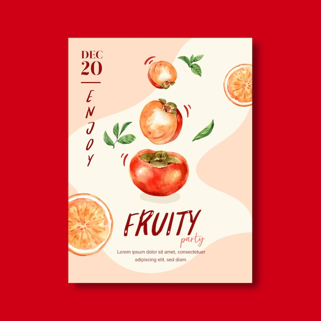 Fruits themed frame with persimmon, creative peach color illustration template Free Vector