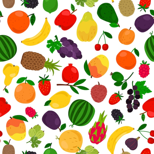 Fruits tropical seamless pattern Premium Vector