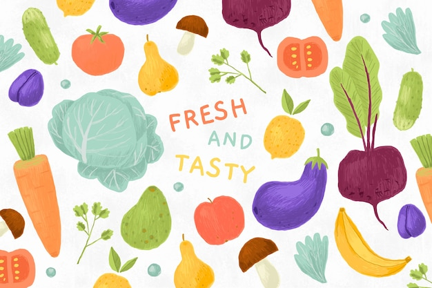 Fruits and vegetables background Premium Vector