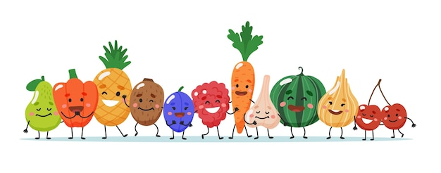Fruits and vegetables characters. Premium Vector