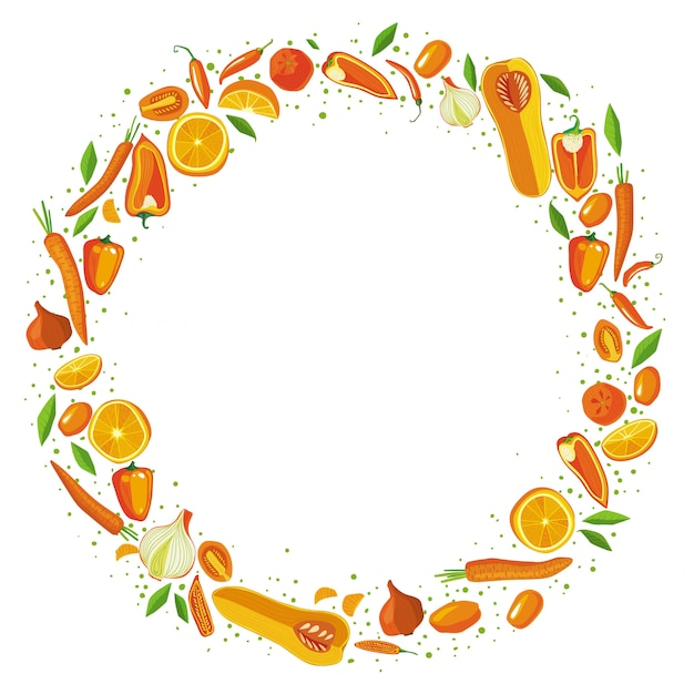 Fruits and vegetables circle frame. healthy food concept. Premium Vector
