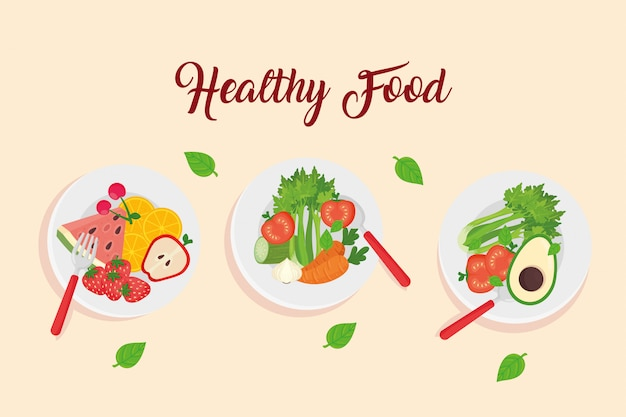 Fruits and vegetables in dishes, healthy food concept vector illustration design Premium Vector