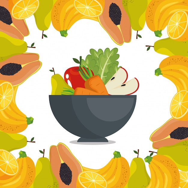 Fruits and vegetables healthy food Free Vector