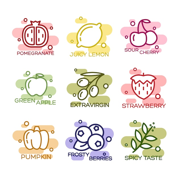 Fruits and vegetables lined icons set Free Vector