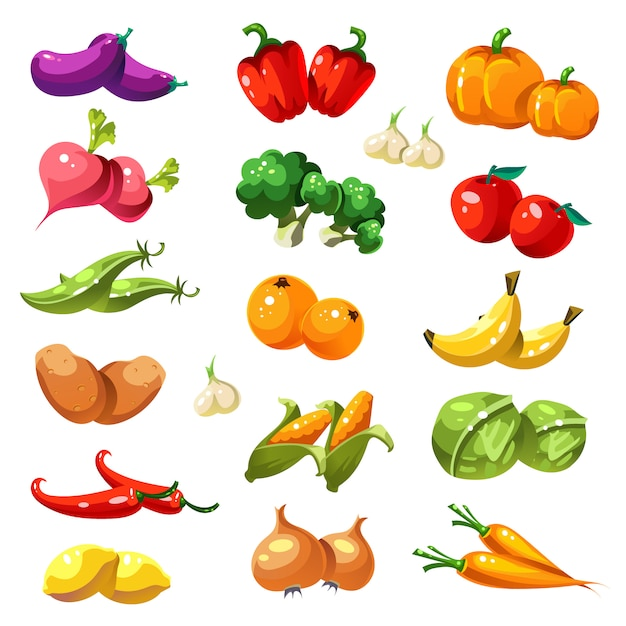 Fruits and vegetables. organic food icons Premium Vector