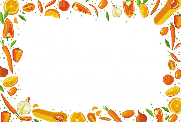 Fruits and vegetables rectangular frame. healthy food concept. Premium Vector