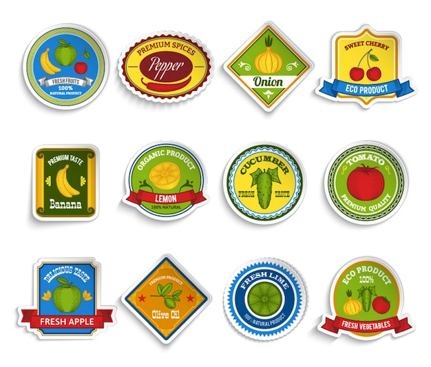 Fruits vegetables stickers set color Free Vector
