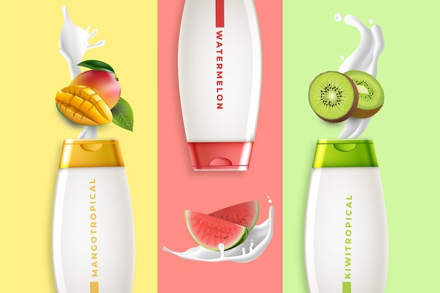 フルーティーローション化粧品広告 無料ベクター