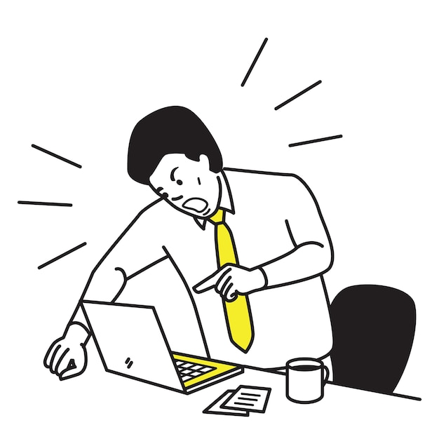 Frustrated and furious businessman shouting and screaming screen laptop on his working desk. Premium Vector