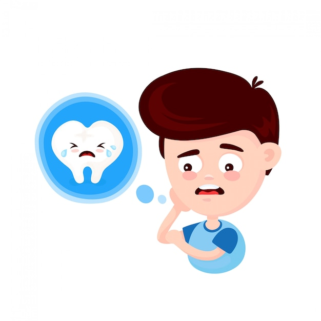 Frustrated young man touching his cheek and feel aching tooth Premium Vector