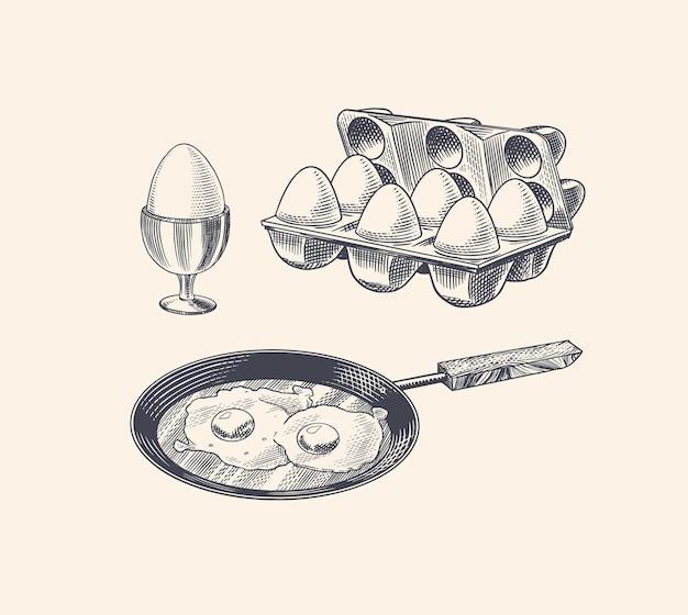 계란 후라이와 스크램블 오믈렛 프라이팬 프리미엄 벡터