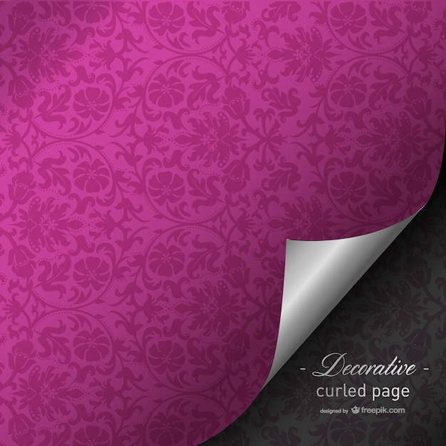 Fuchsia curled page design Free Vector
