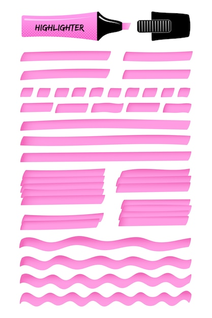 Fuchsia realistic highlight marker lines and boxes Premium Vector