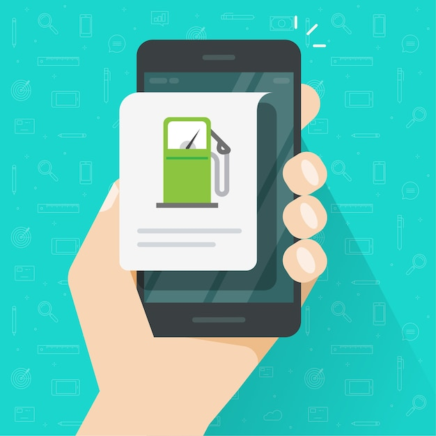 Зарядка топлива бензином с помощью приложения для мобильного телефона, информационное сообщение азс на смартфоне мобильного телефона Premium векторы