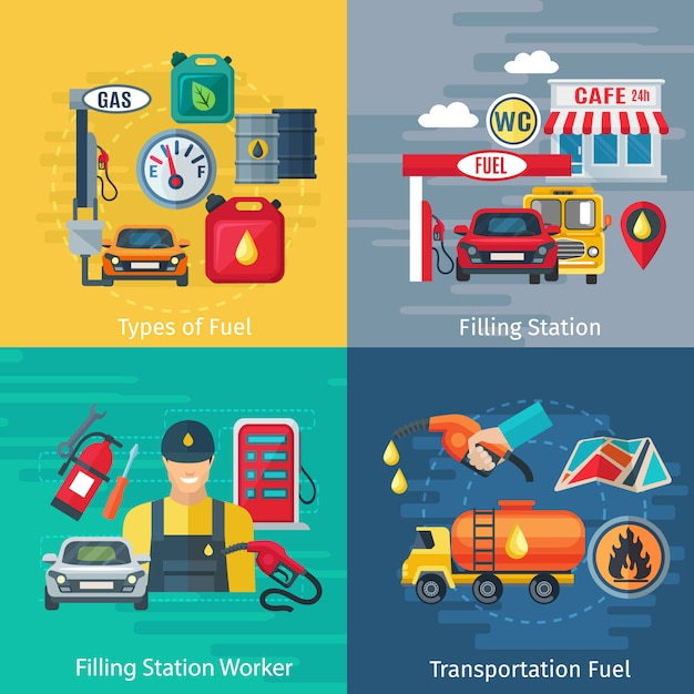 Fuel station concept icons set with oil workers and cars symbols Free Vector