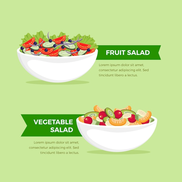 Fuits and salad bowls collection theme Free Vector
