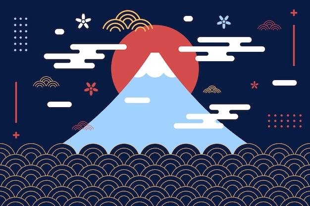 和風富士山の背景 Premiumベクター