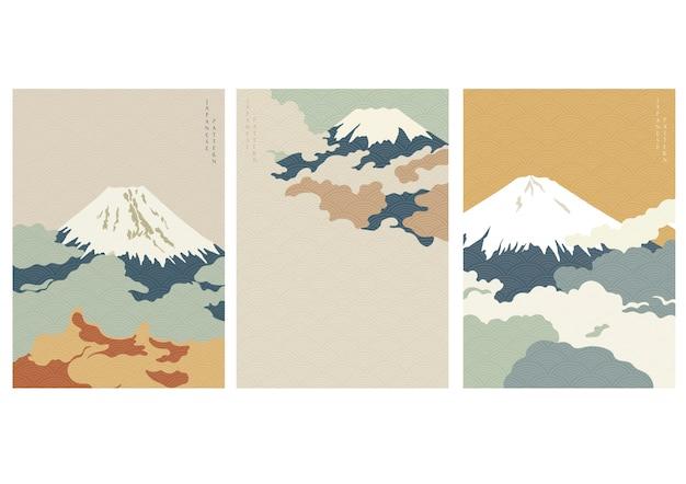 日本の波パターンと富士山の背景。クラウドテンプレート。 Premiumベクター