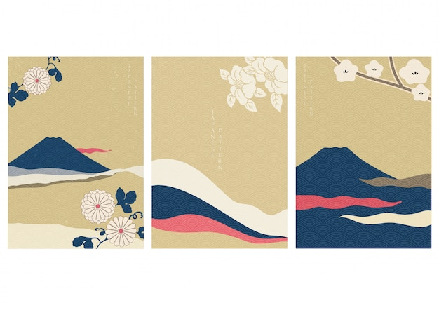 Fuji mountain with flower   in japanese style. landscape background with wave pattern illustration. Premium Vector