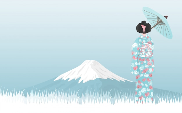 Fuji mountain with japanese woman in kimono dress looking at the view. Premium Vector