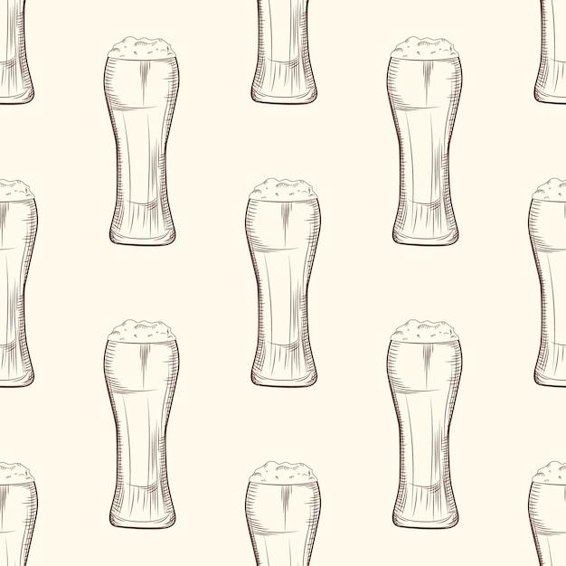 Полный бокал пива бесшовные модели. Premium векторы