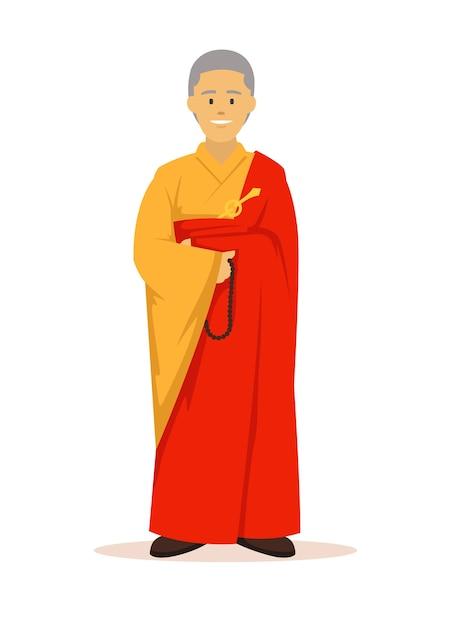 オレンジローブの仏教徒全身 Premiumベクター
