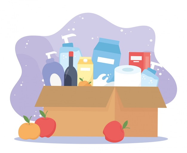 Full cardboard box with wine, food toilet paper cleaning products, excess purchase Premium Vector