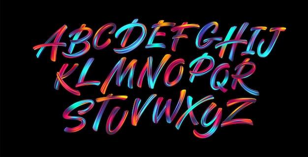 フルカラー手書きペイントブラシレタリングラテンアルファベット文字。 無料ベクター