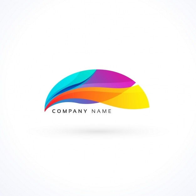Full color logo with abstract shapes Free Vector