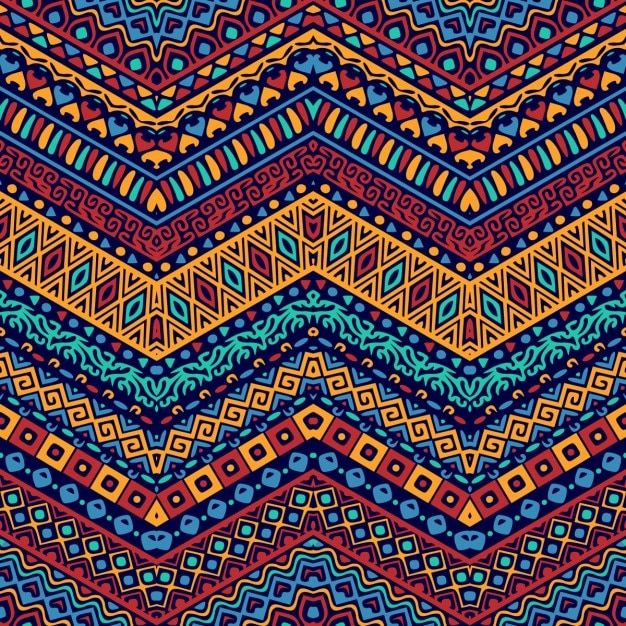 Full color pattern with ethnic ornaments Free Vector