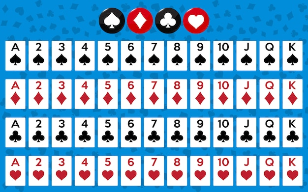 Full deck of cards for playing poker and casino. Premium Vector