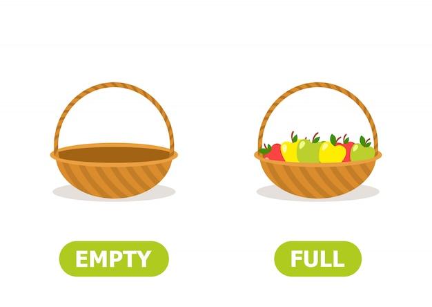 Full and empty basket Premium Vector
