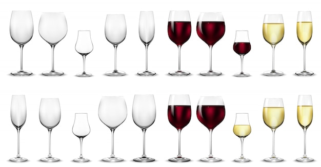 Full and empty glasses for white and red wine. Premium Vector