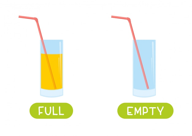 Full and empty. vector antonyms and opposites Premium Vector