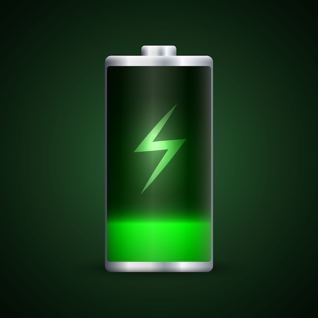 Full energy battery charge. Premium Vector