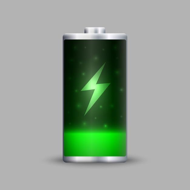 Full energy battery charge. Premium Vector