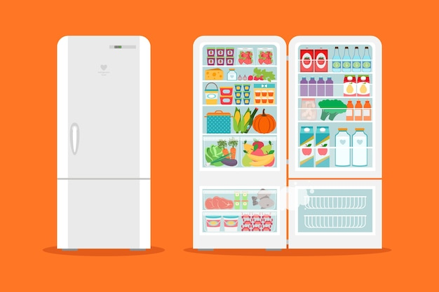 Full of food opened refrigerator. fridge and fruit, freezer and vegetable. Free Vector