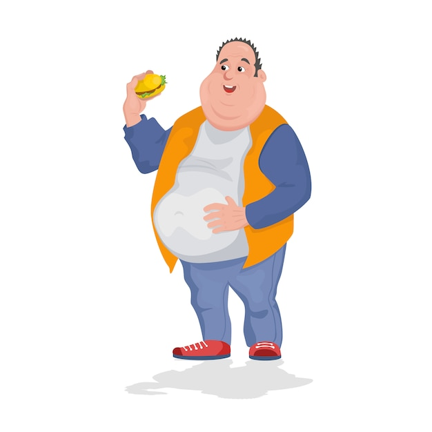 Full man shirt eating a lot of hamburgers. Premium Vector